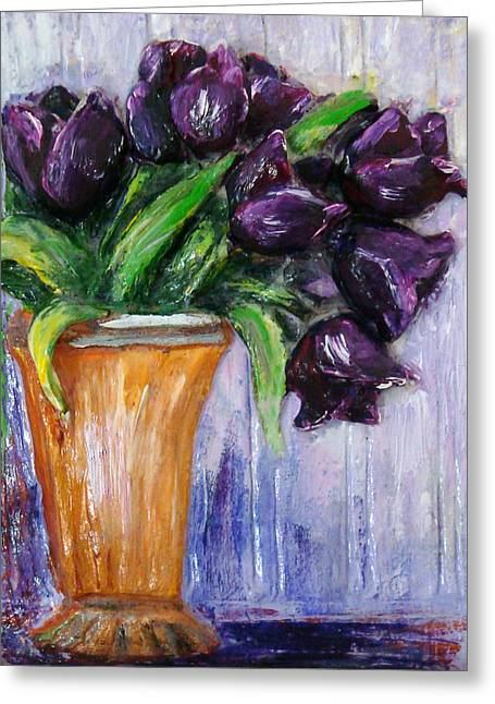 Purple Tulips In Vase Greeting Card
