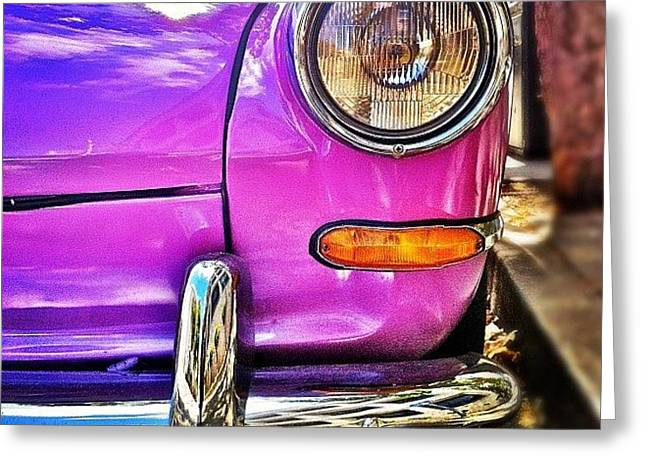 Purple Vw Bug Greeting Card