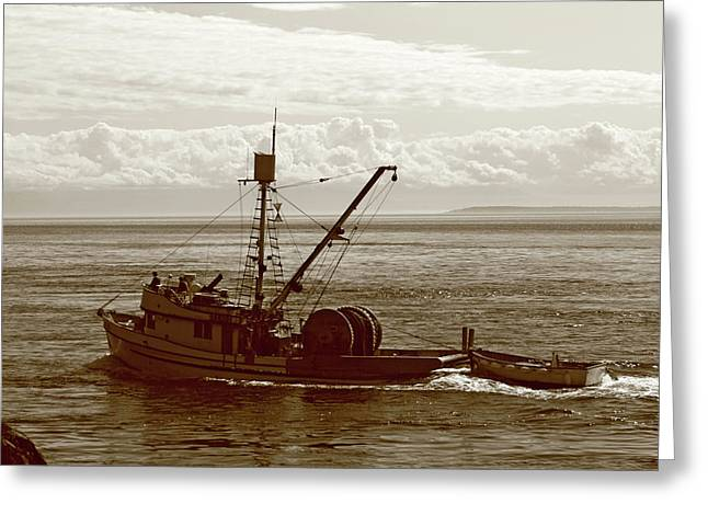 Greeting Card featuring the photograph Purse Seine Departure by Lorraine Devon Wilke