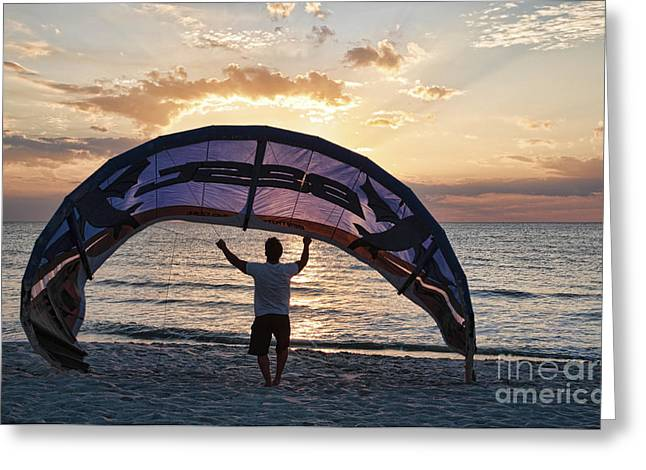 Putting Away The Kite At Clam Pass At Naples Florida Greeting Card