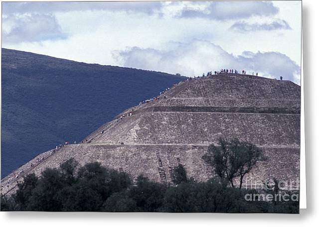 Greeting Card featuring the photograph Pyramid Climbers Teotihuacan Mexico by John  Mitchell