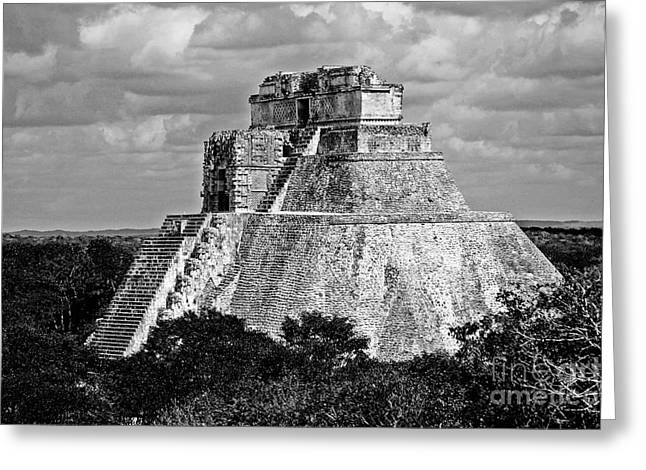 Pyramid Of The Magician At Uxmal Mexico High Contrast Black And White Greeting Card by Shawn O'Brien