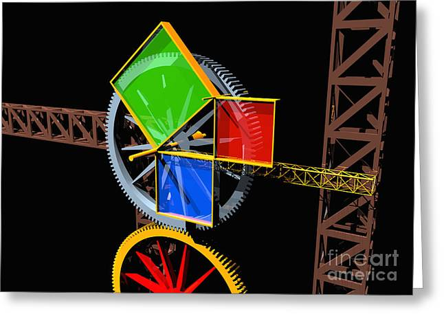 Pythagorean Machine Landscape 1 Greeting Card by Russell Kightley