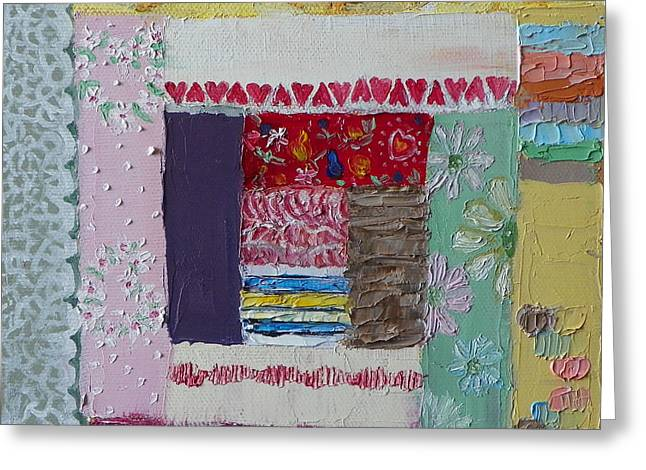 Q Is For Quilt Detail From Childhood Quilt Painting Greeting Card
