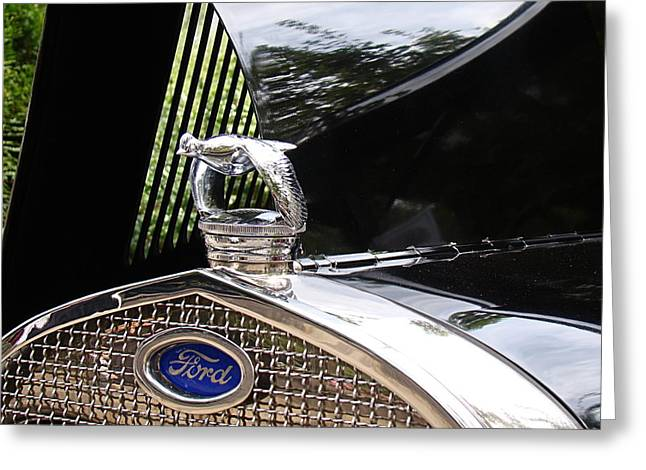 Quail Radiator Cap- Ford Greeting Card by Nick Kloepping