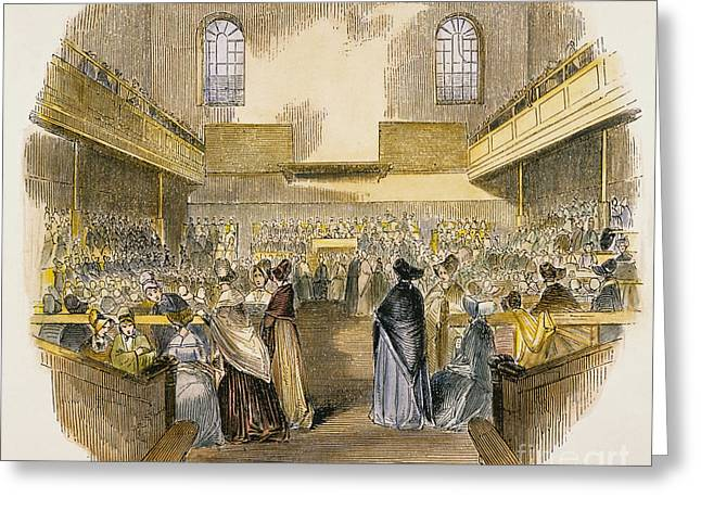 Quaker Meeting, 1843 Greeting Card by Granger