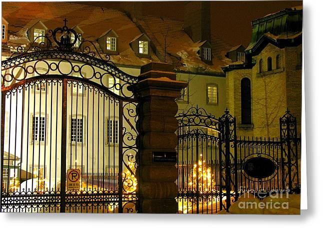 Quebec On A Winter's Night Greeting Card by Anne Gordon