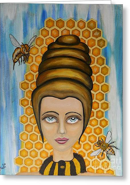 Queen Bee And The Nectar Of The Gods Greeting Card by Claudia Tuli