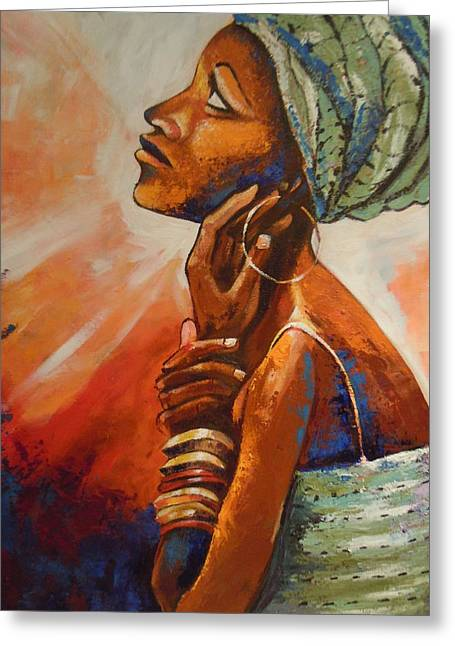 Queen Greeting Card by Michael Echekoba