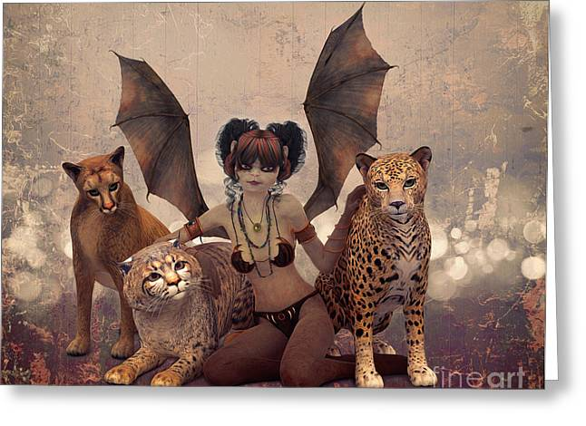 Queen Of Cats Greeting Card by Jutta Maria Pusl
