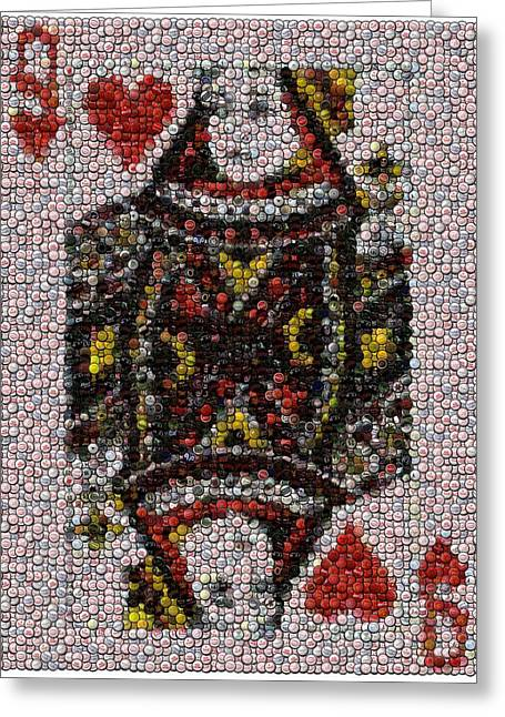 Queen Of Hearts Bottle Cap Mosaic Greeting Card by Paul Van Scott