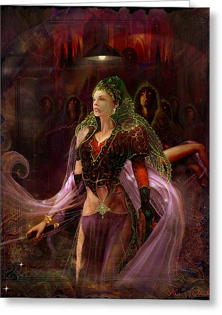 Greeting Card featuring the painting Queen Of The Dead by Steve Roberts