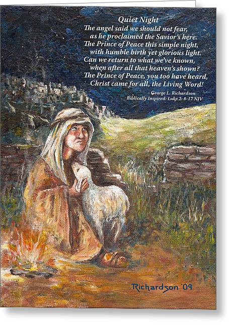 Greeting Card featuring the painting Quiet Night With Poem by George Richardson