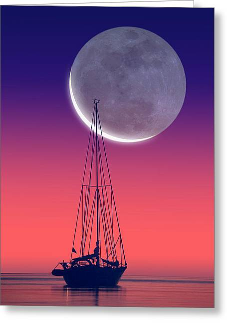 Quiet Sailboat Greeting Card by Larry Landolfi