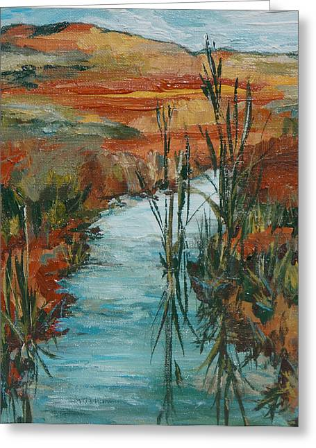 Quiet Stream Greeting Card by Sandy Tracey