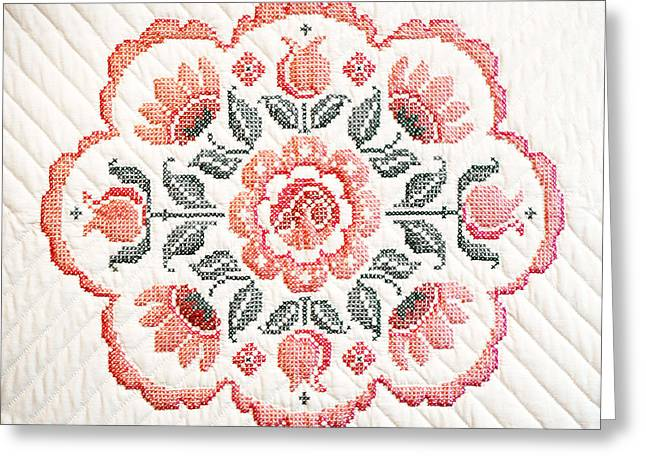 Quilted Centerpiece Greeting Card by Marilyn Hunt