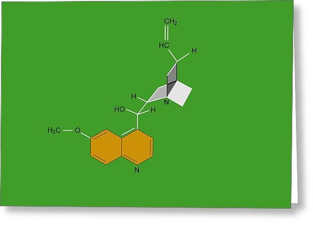Quinine Malaria Drug Molecule Greeting Card by Francis Leroy, Biocosmos