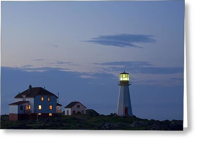 Quirpon Island Lighthouse, Newfoundland Greeting Card by John Sylvester
