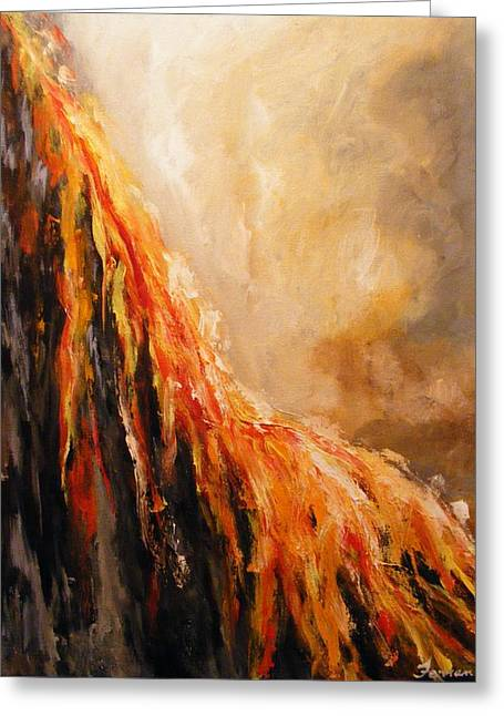 Greeting Card featuring the painting Quite Eruption by Karen  Ferrand Carroll