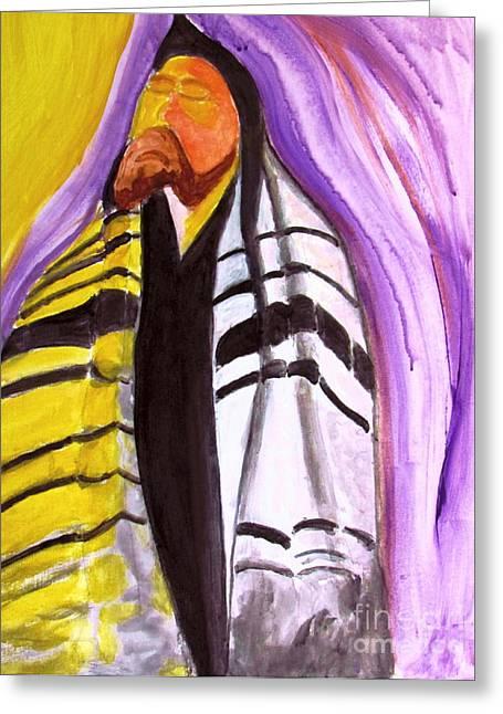 Rabbi Praying With Kabbalah Greeting Card by Stanley Morganstein