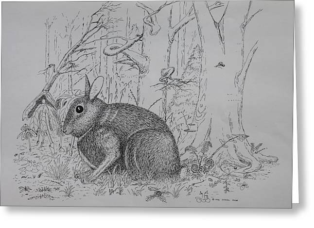Greeting Card featuring the drawing Rabbit In Woodland by Daniel Reed