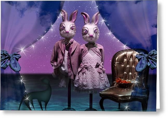 Rabbits In Love Greeting Card by Rosa Cobos
