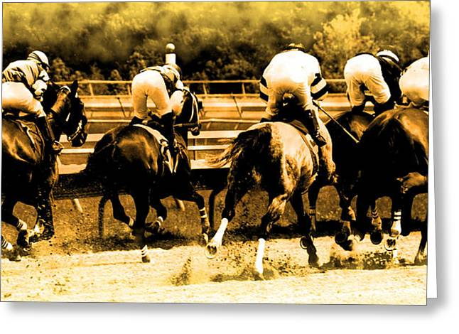 Greeting Card featuring the photograph Race To The Finish Line by Alice Gipson