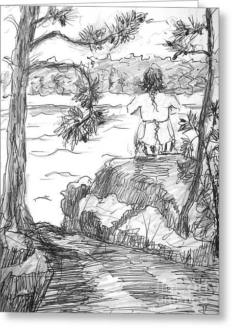 Greeting Card featuring the painting Rachel On The Rocks by Gretchen Allen
