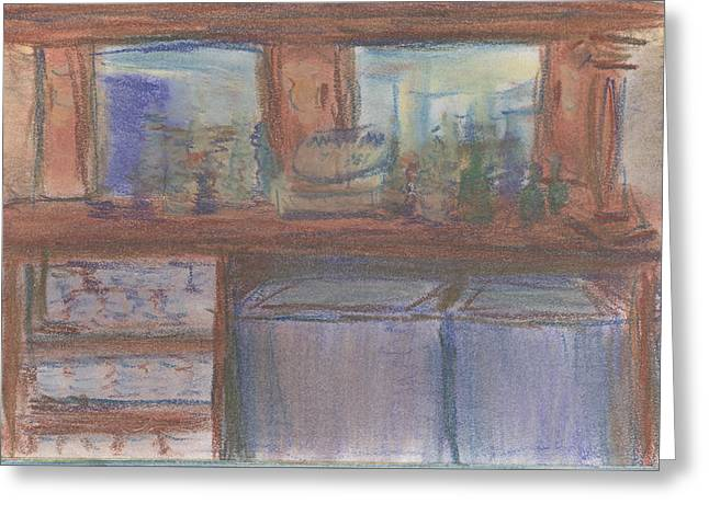 Greeting Card featuring the pastel Rachel's Office by Denny Morreale