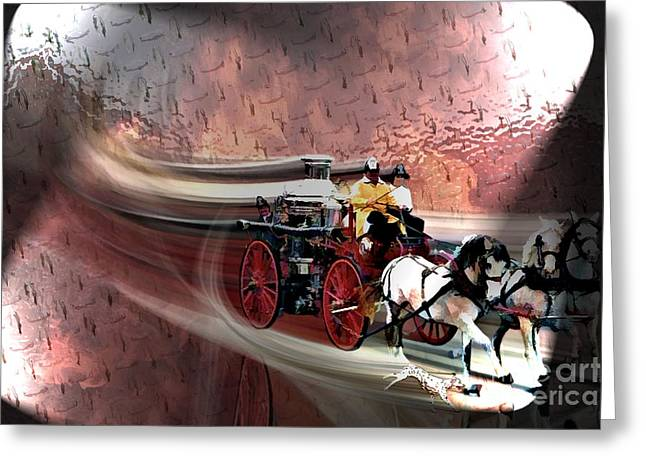 Racing To The Scene Greeting Card by Tommy Anderson