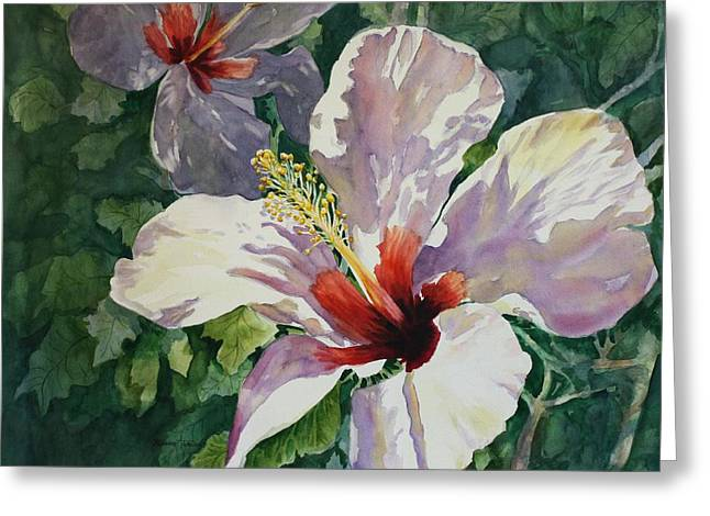 Greeting Card featuring the painting Radiant Light - Hibiscus by Roxanne Tobaison
