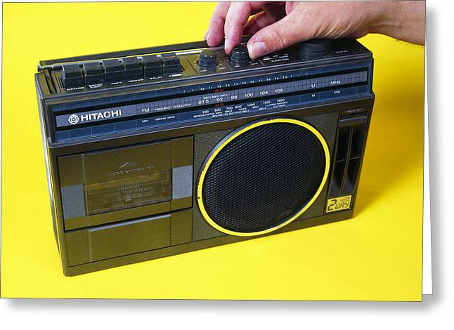 Radio Cassette Player Greeting Card by Andrew Lambert Photography