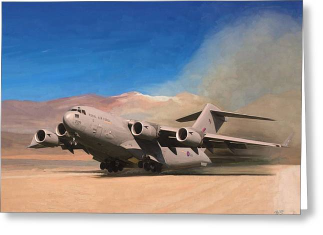 Greeting Card featuring the painting Raf C17 Globemaster Take Off by Nop Briex