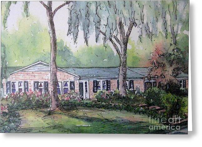 Greeting Card featuring the pastel Ragan's Home 1 by Gretchen Allen