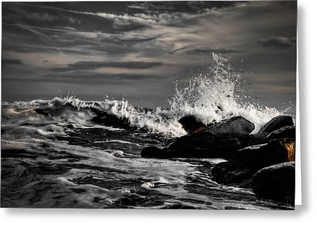 Raging Seas Greeting Card by David Hahn