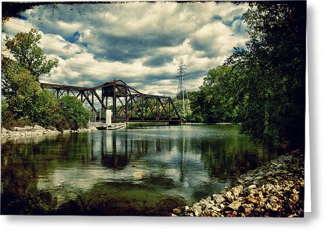 Rail Swing Bridge Greeting Card by Joel Witmeyer