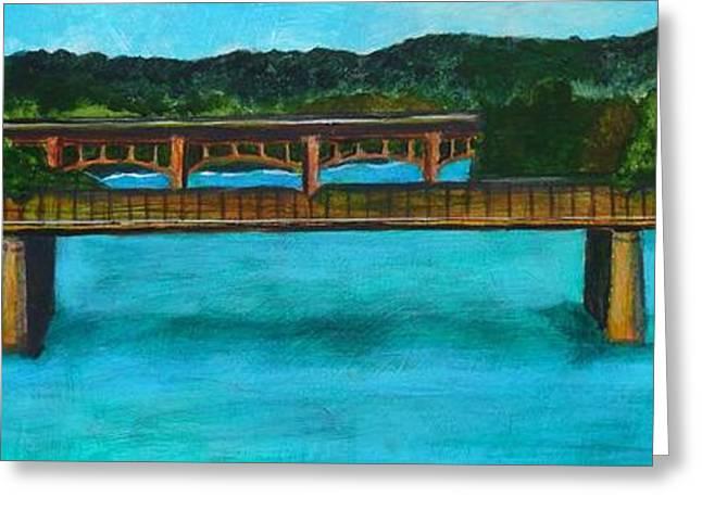 Railroad Bridge At Lady Bird Lake Austin Texas Greeting Card