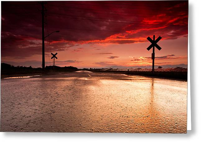 Railroad Sunset Greeting Card by Cale Best