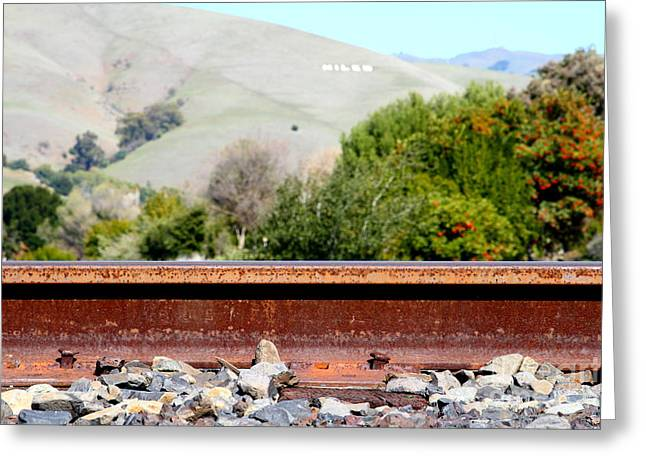 Railroad Track In Fremont California Near Historic Niles District In California . 7d12676 Greeting Card by Wingsdomain Art and Photography