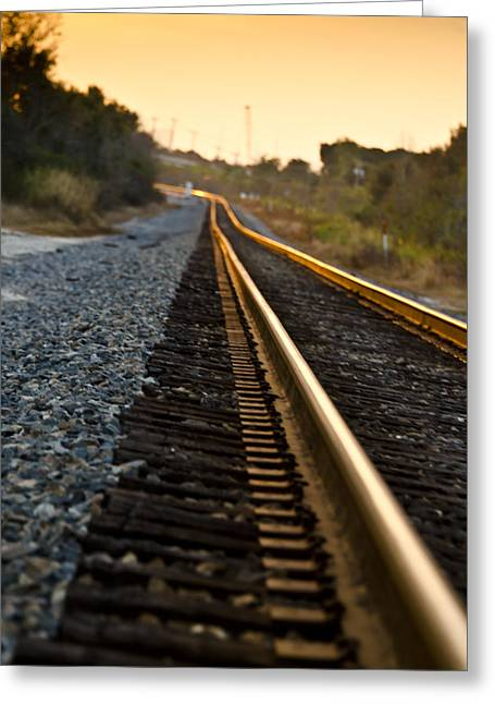 Railroad Tracks At Sundown Greeting Card by Carolyn Marshall