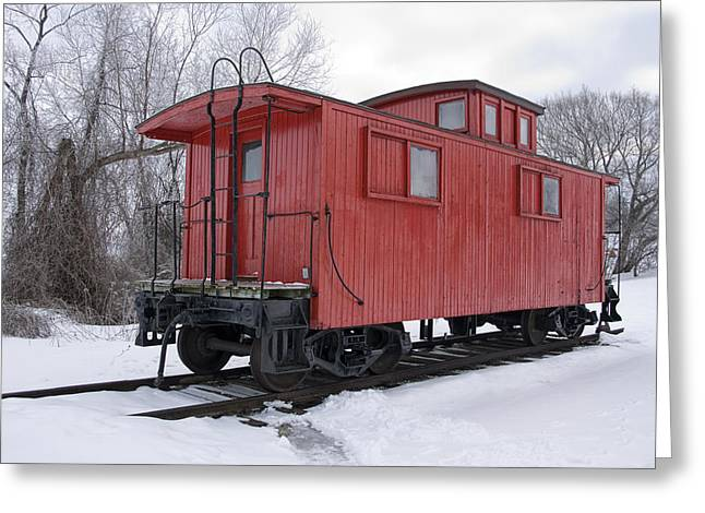Railroad Train Red Caboose Greeting Card by Randall Nyhof