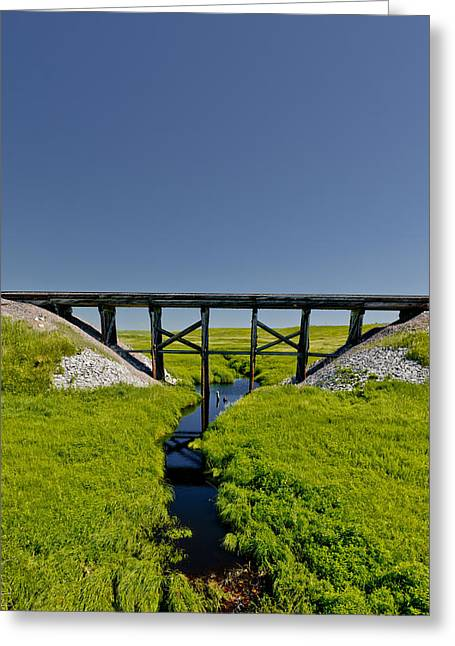Railroad Trestle Greeting Card by Roderick Bley