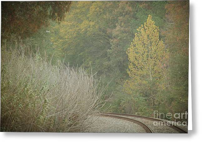 Rails Curve Into A Dreamy Autumn Greeting Card by Lisa Holmgreen