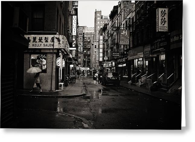 Rain - Pell Street - New York City Greeting Card by Vivienne Gucwa