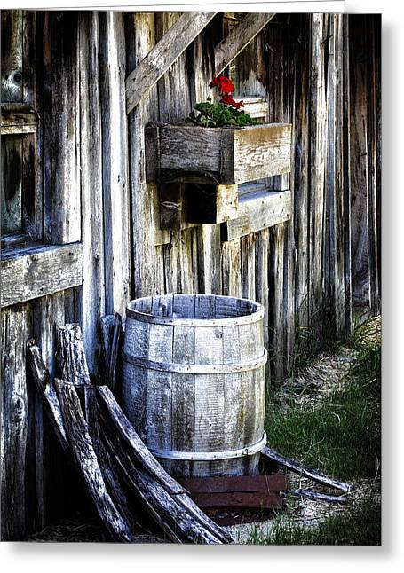 Rain Barrel Geranium Greeting Card by Melissa  Connors