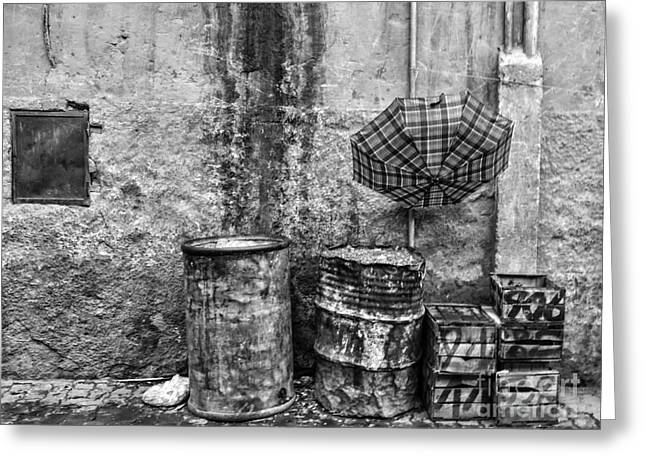Rain Bw Marrakesh Greeting Card by Chuck Kuhn