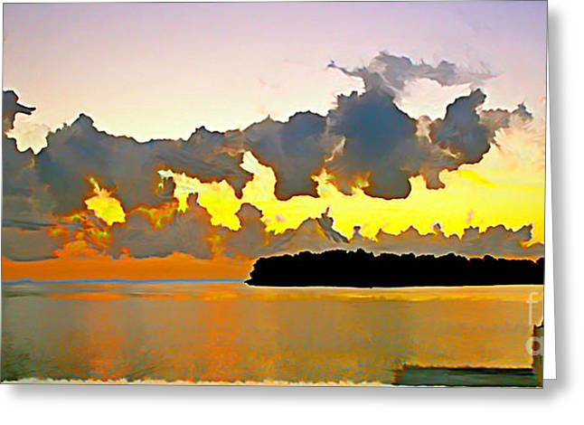 Rain Clouds At Sunset Greeting Card by Joan McArthur