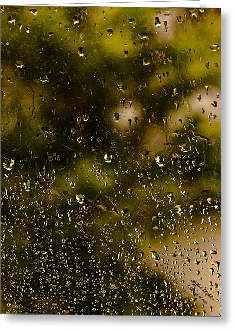 Greeting Card featuring the photograph Rain Drops On My Window by Itzhak Richter
