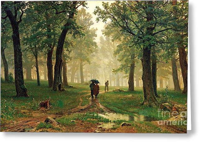 Rain In The Oak Forest Greeting Card by Pg Reproductions