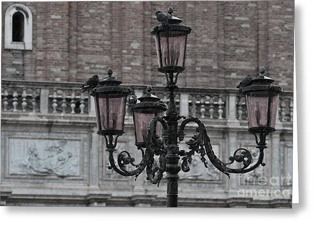 Rain In Venice Greeting Card by Design Remix